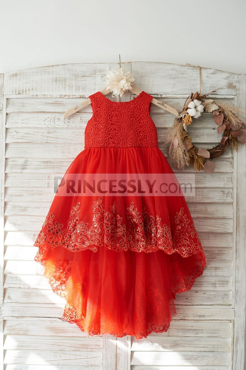 Red Lace Tulle Hi-Lo Wedding Flower Girl Dress