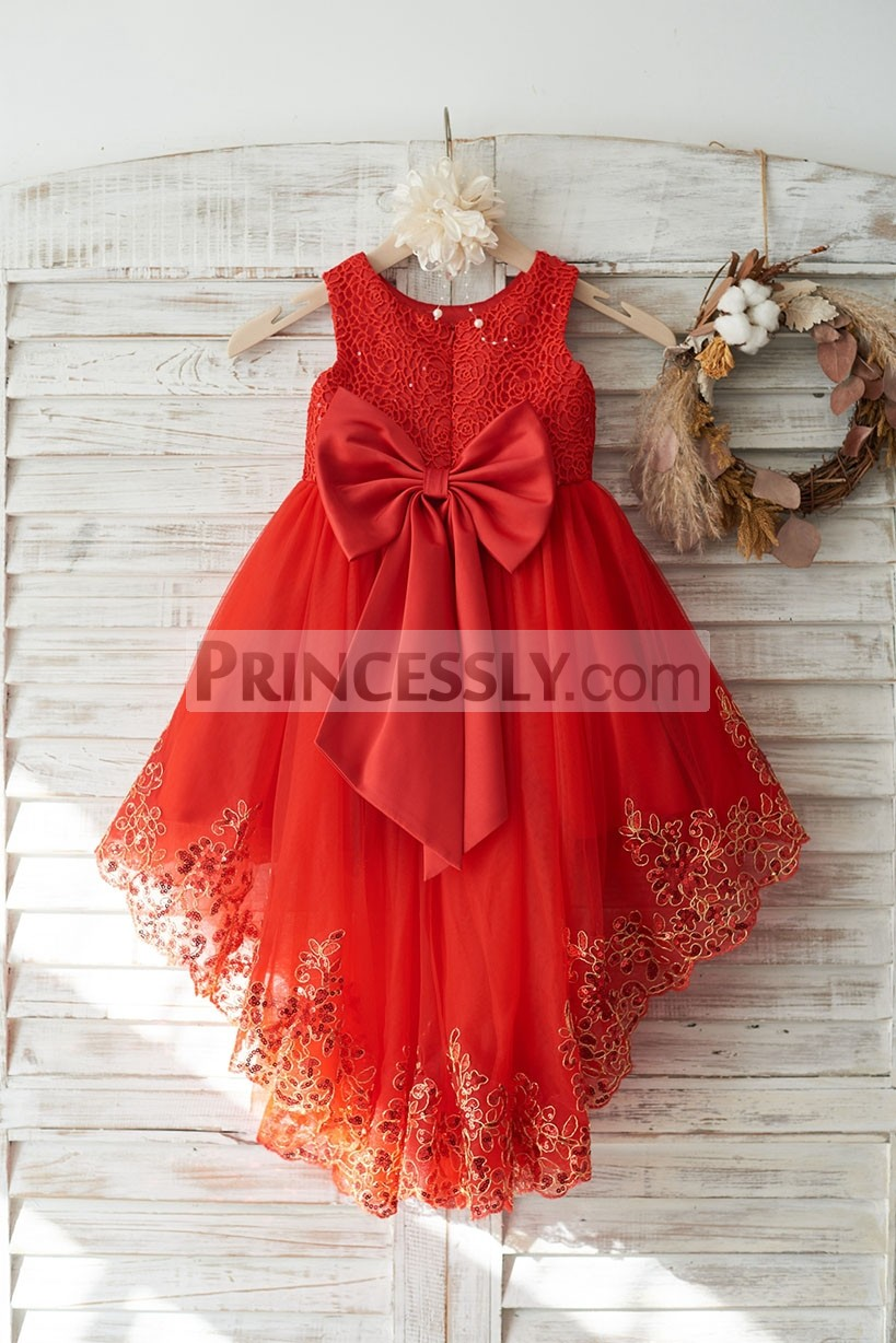 Lace Tulle Flower Girl Dress w/ High Low Skirt
