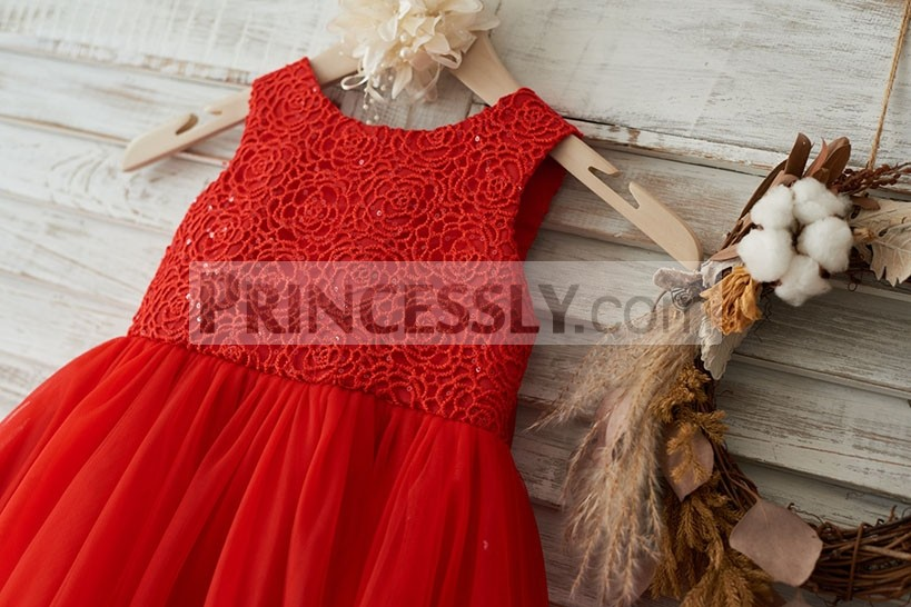Scoop Neck Sleeveless Roses Patterned Red Lace