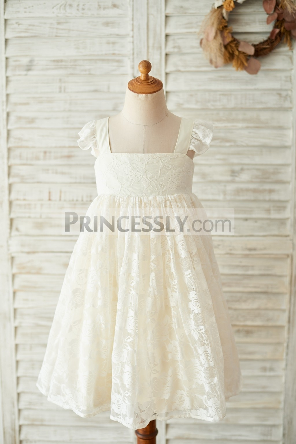 Cute Champagne Lace Wedding Baby Girl Dress