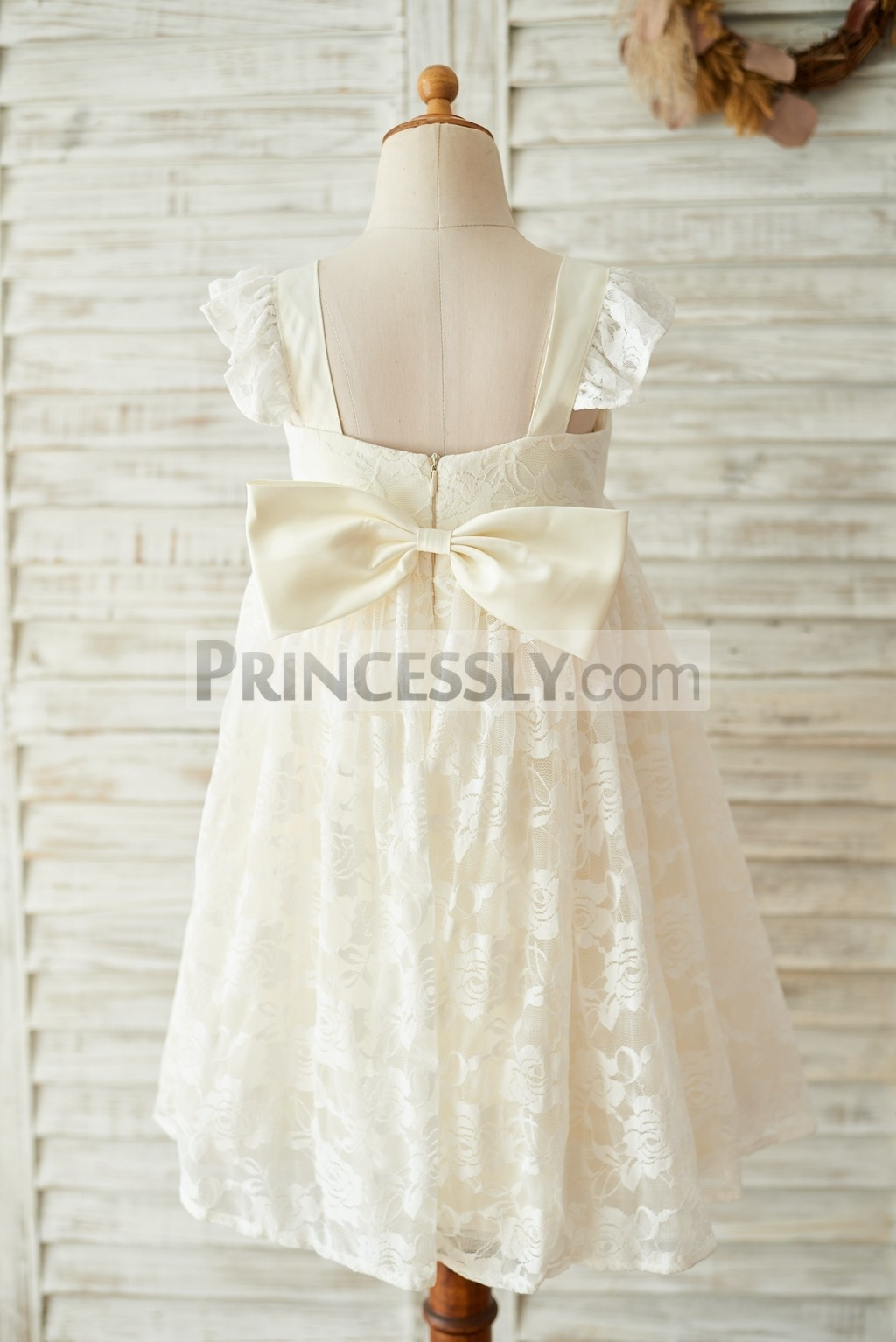 Backless Lace Flower Girl Dress for Wedding