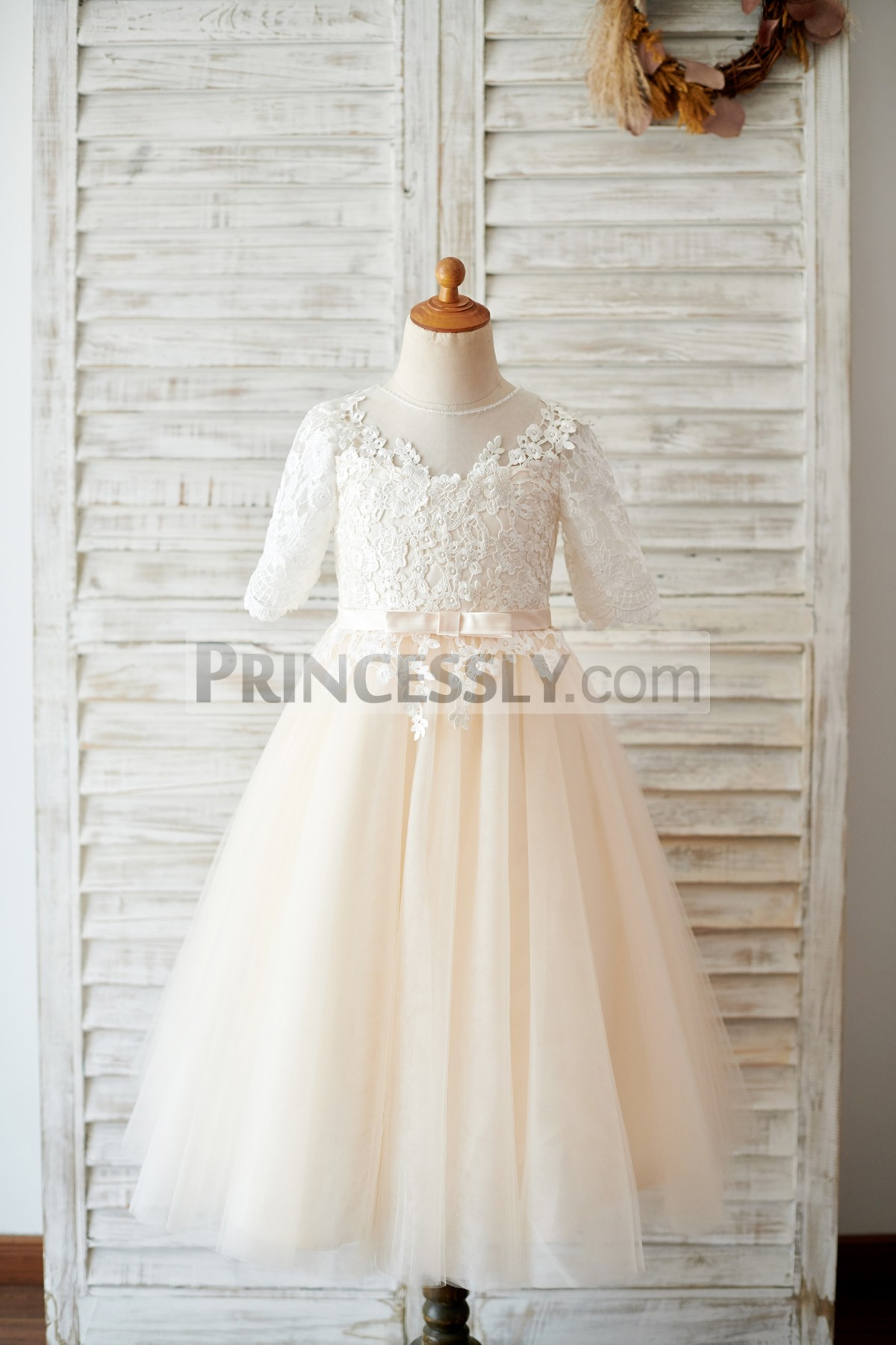 Ivory Lace Appliques Champagne Tulle Flower Girl Dress