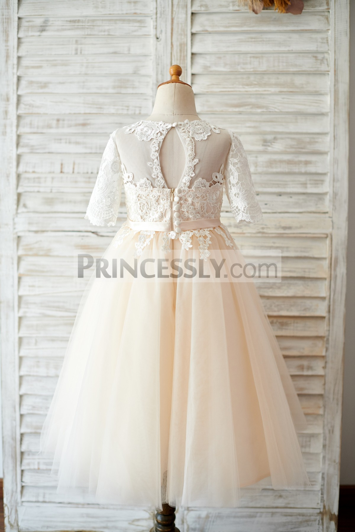 Keyhole Sheer Tulle Back Pleated Tulle Wedding Flower Girl Gown