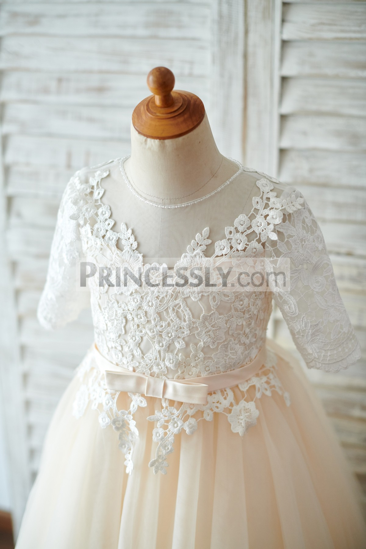 Beaded Jewel Neck Sheer Bodice with Belt in Half Sleeves