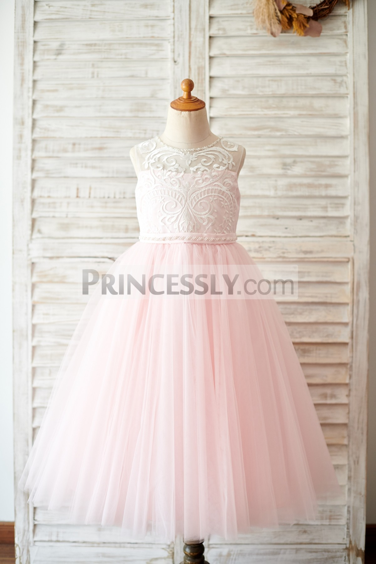Lace Overlay Pink Tulle Tea Length Ball Gown Flower Girl Dress