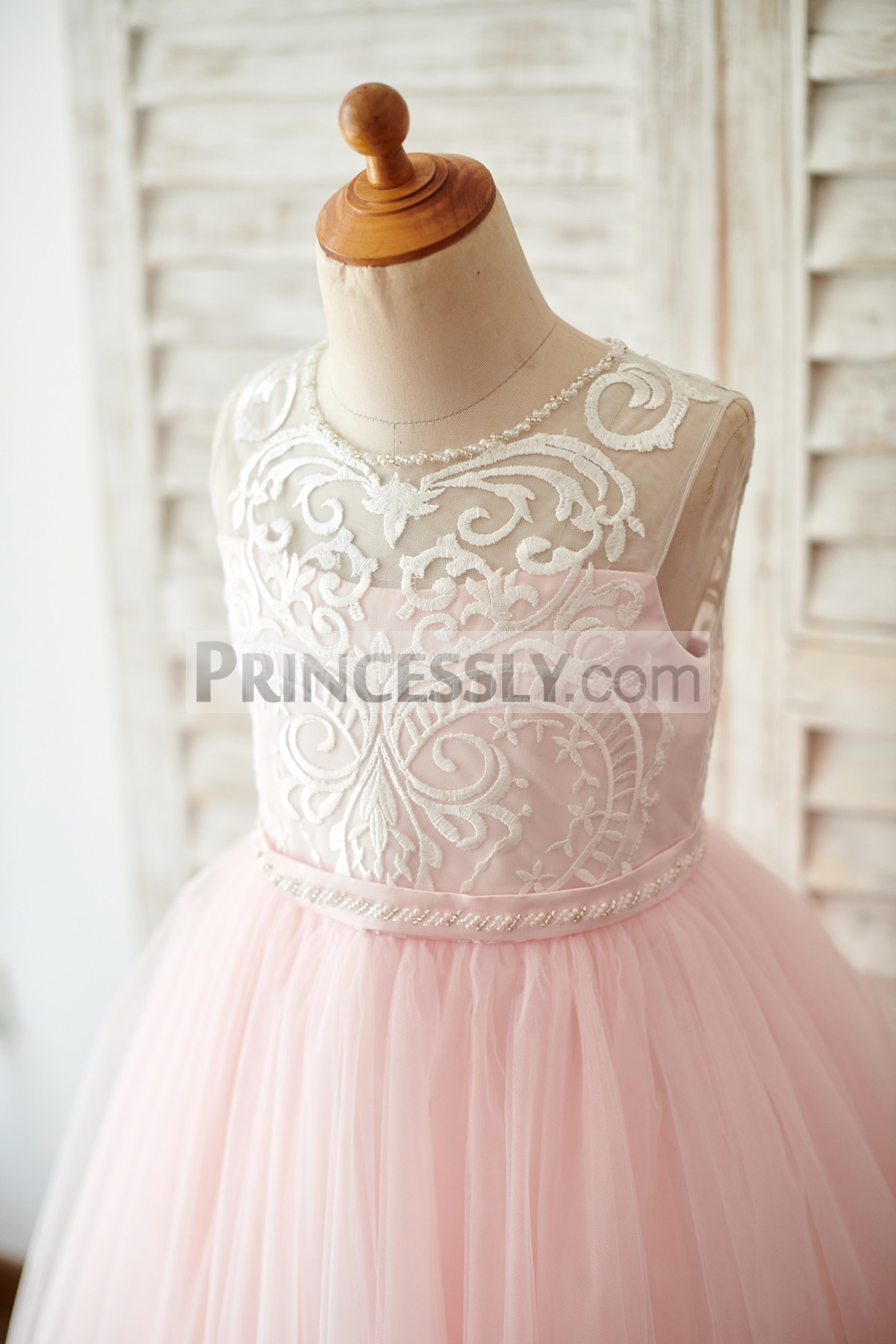 Beaded Jewel Neck Sleeveless Lace Overlay Bodice with Beaded Belt
