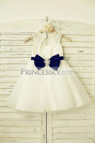 Princessly.com-K1000184-Ivory-Lace-Tulle-Flower-Girl-Dress-with-keyhole-back-Navy-Blue-Belt-32