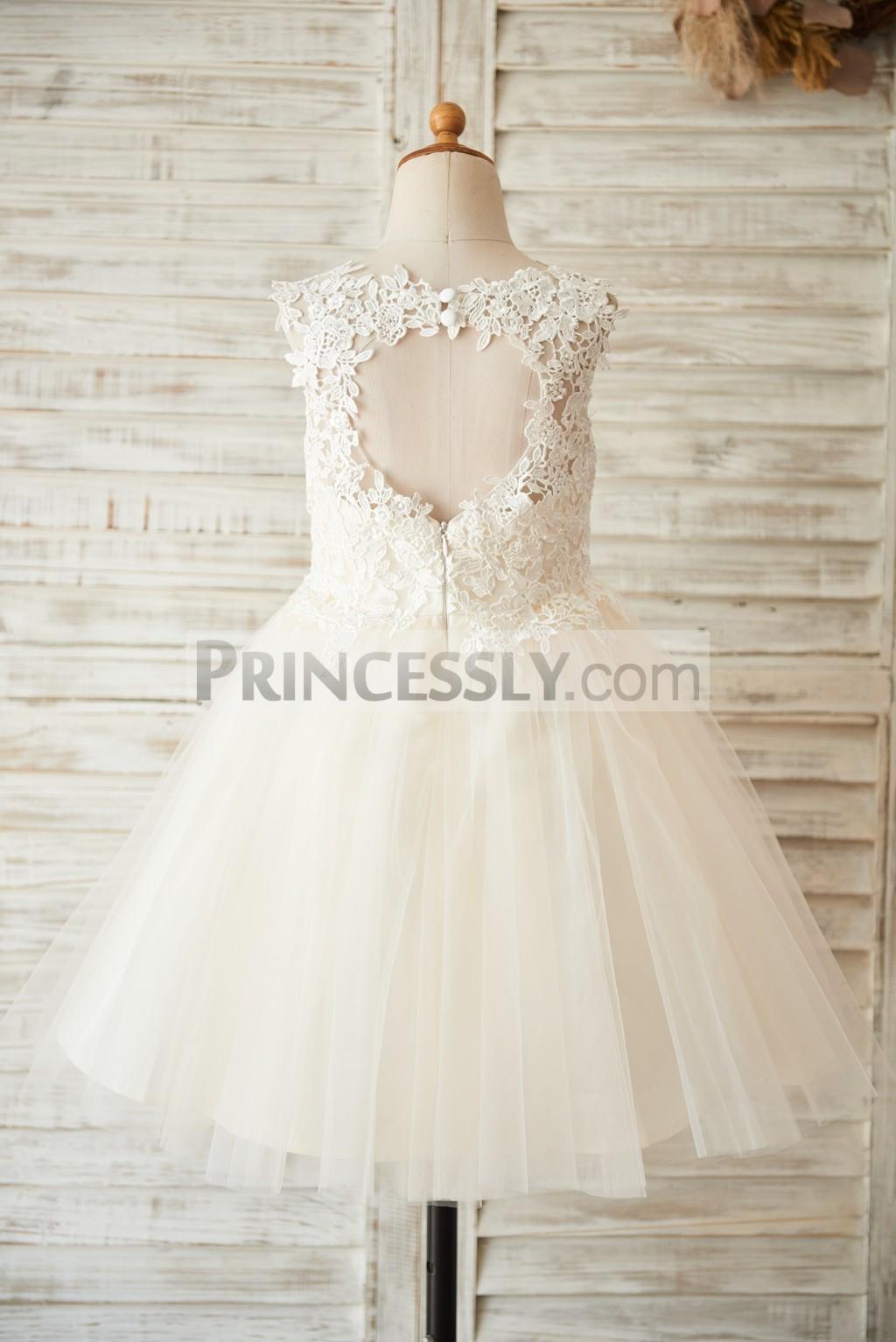 Ivory Crochet Lace Tulle Wedding Flower Girl Dress
