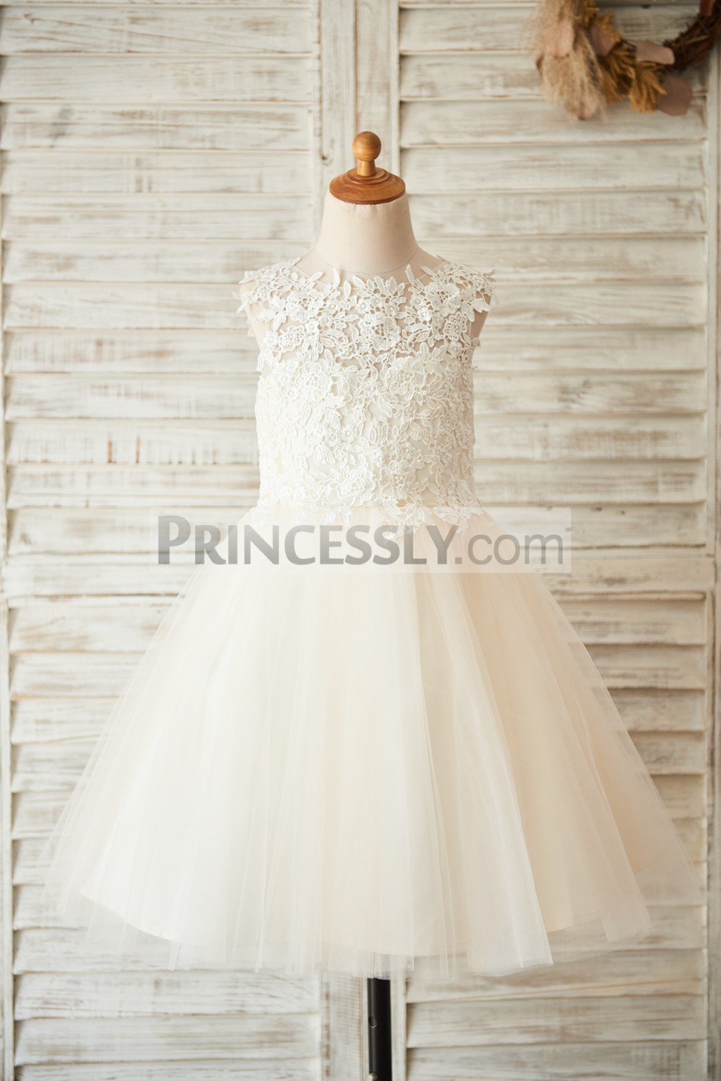 Lace Bodice Tulle Ball Gown Wedding Baby Flower Girl Dress
