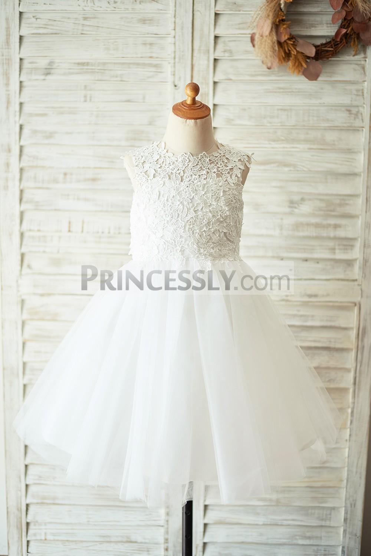 White Lace Tulle Wedding Flower Girl Dress