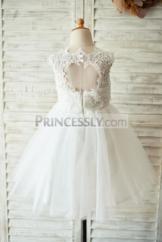 Keyhole Back Crochet Lace Tulle White Little Girl Dress for Wedding