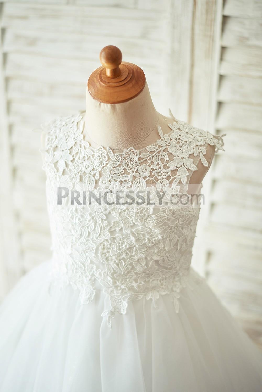 Sleeveless White Lace Covered Bodice