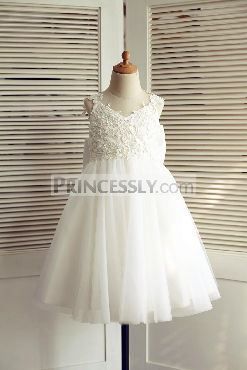 Ivory Lace V Neckline Princess Tulle Flower Girl Dress