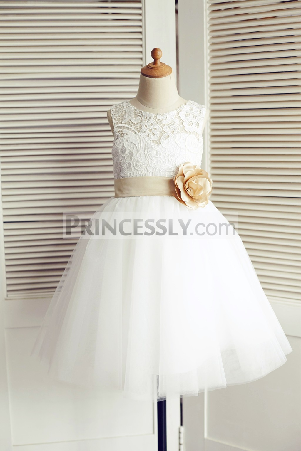Ivory lace tulle ball gown flower girl dress