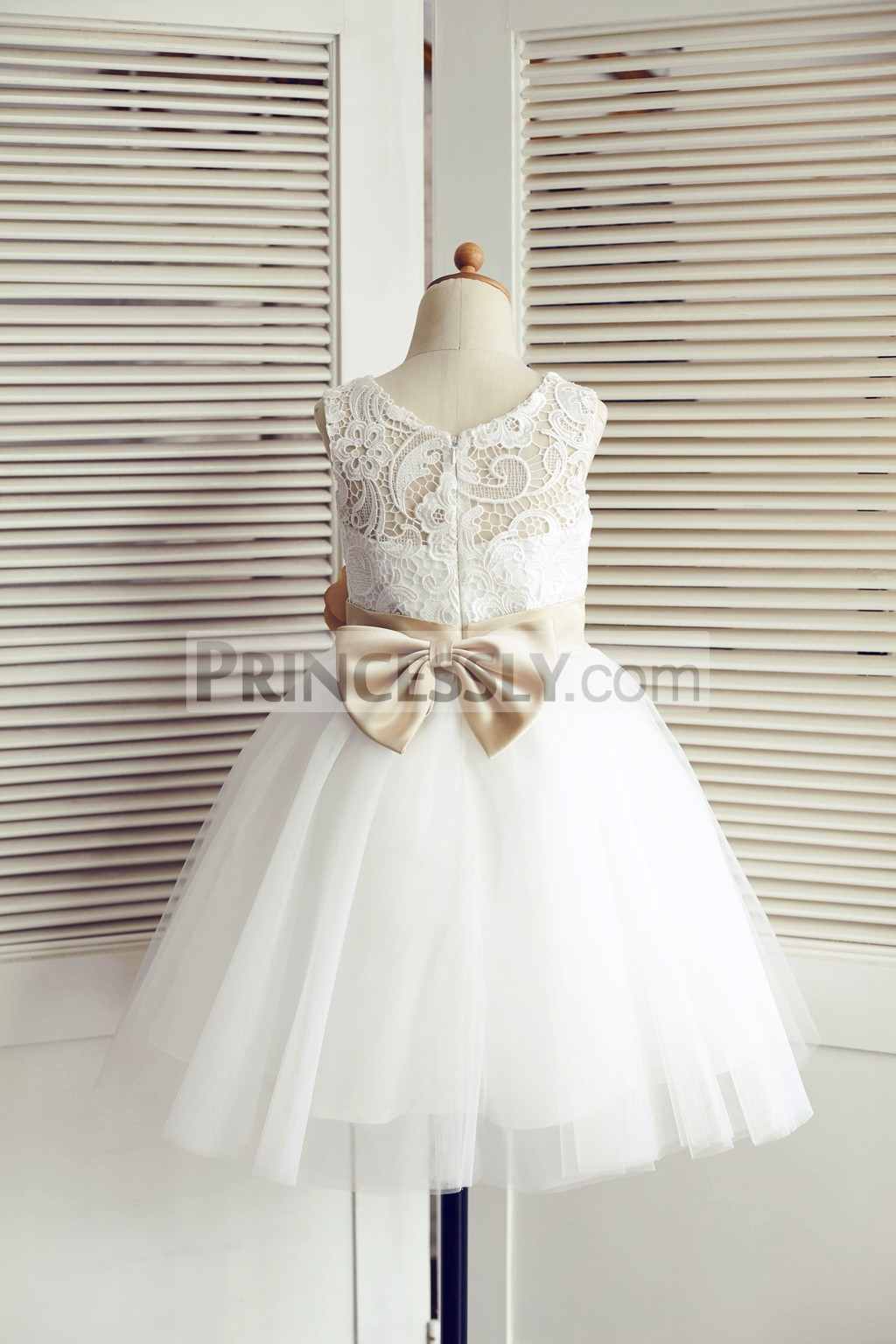 Lace Tulle wedding flower girl dress with champagne belt & bow