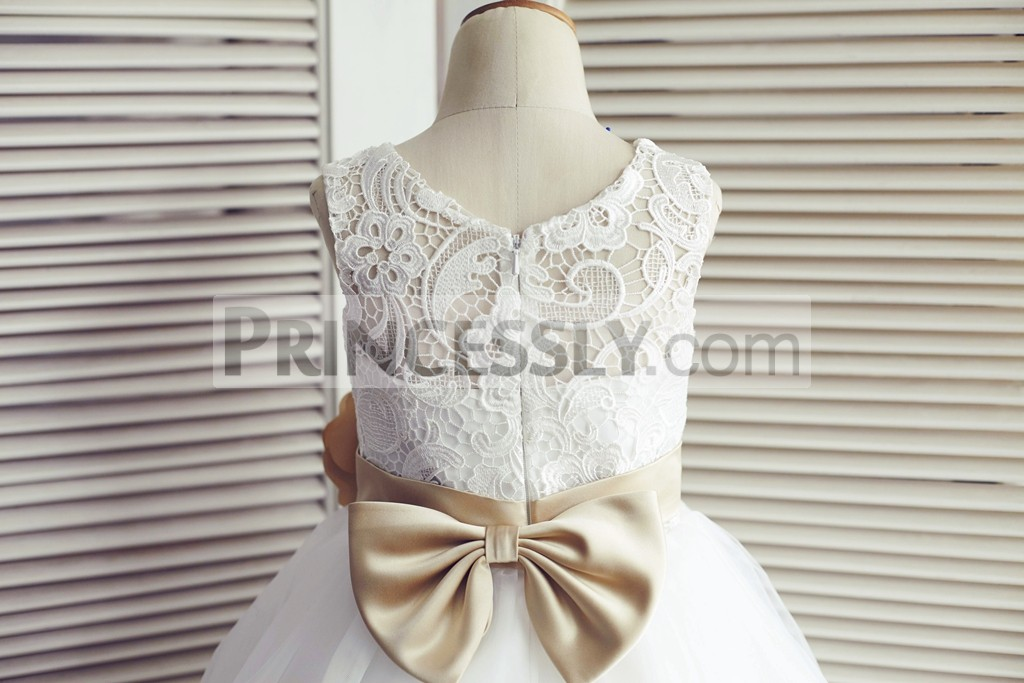 Ivory Lace Back in Hidden Zipper Closure with a Champagne Bow
