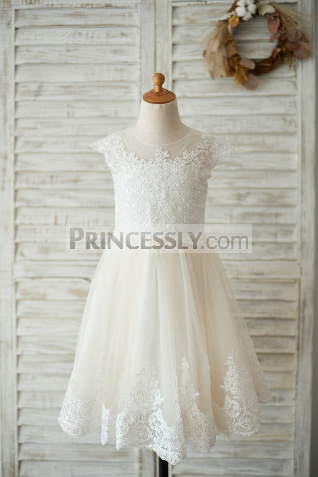 Beaded Ivory Lace Champagne Tulle Flower Girl Dress