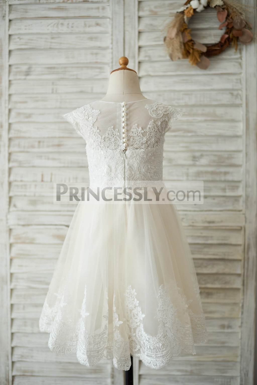 Sheer Back Lace Bodice and Tulle Skirt with Lace Trim Wedding Girl Dress
