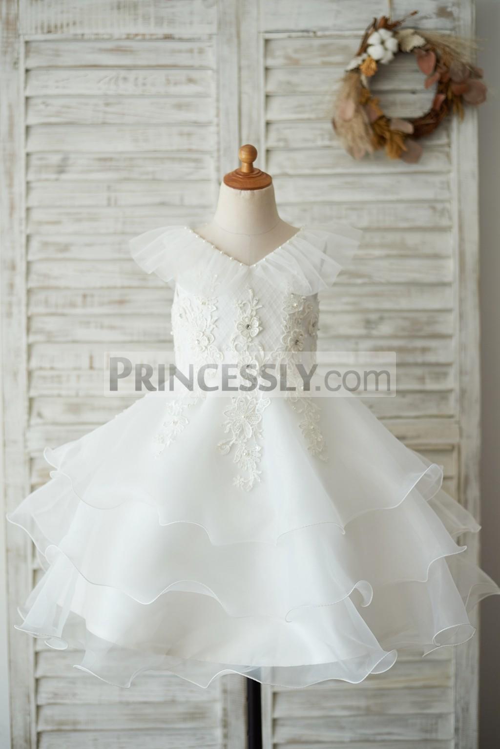 Frilled V neckline cupcake organza ivory flower girl dress
