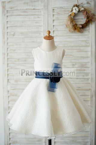 Princessly.com-K1003542-Ivory-Check-Tulle-Wedding-Flower-Girl-Dress-with-Navy-Blue-Belt-31