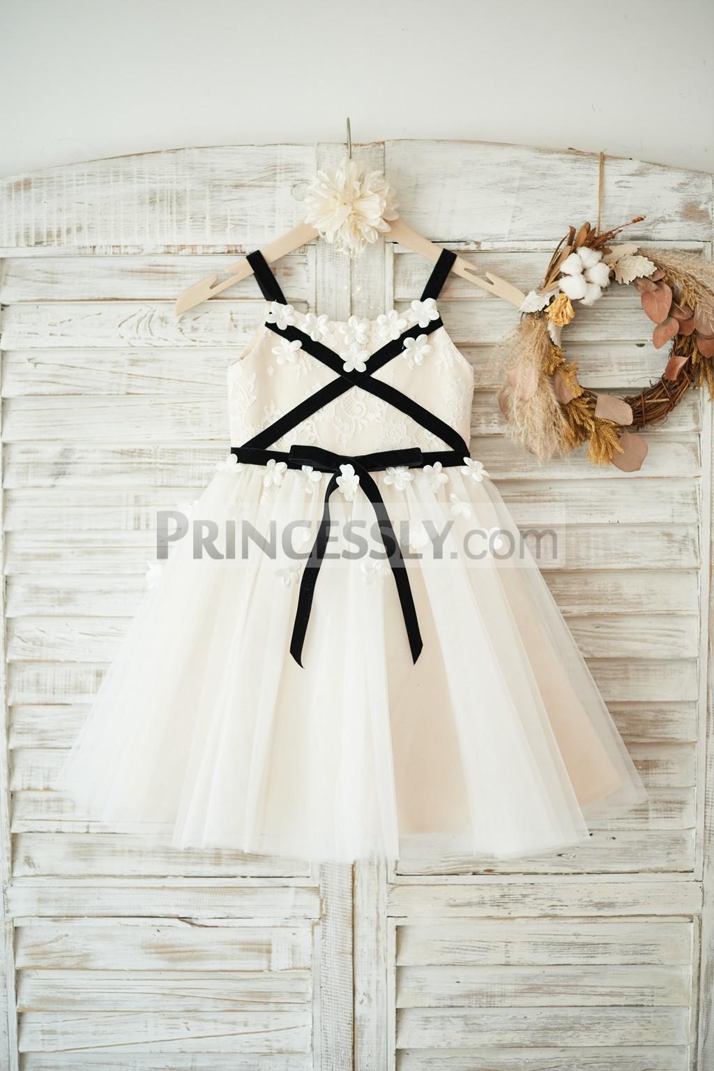Shoulder straps ivory lace champagne tulle flower girl dress