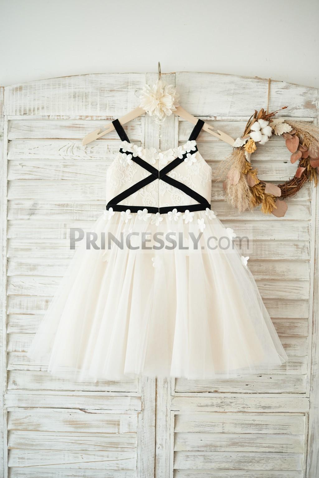 Lace tulle black velvet wedding baby girl dress