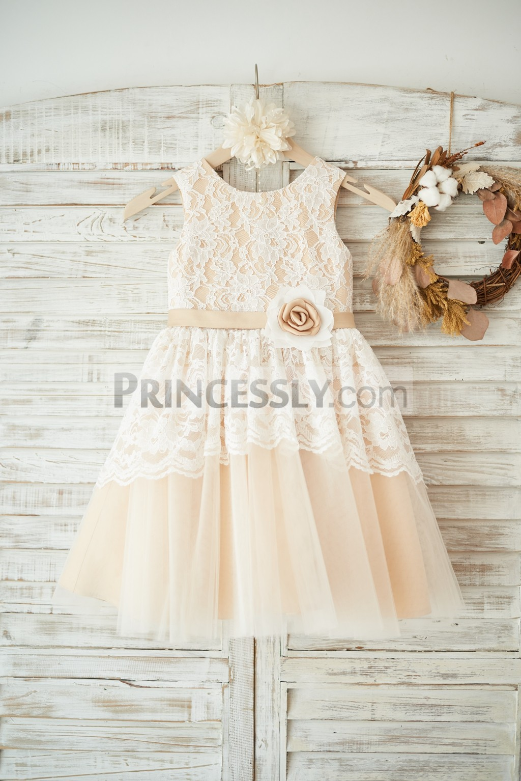Ivory lace overlay champagne tulle wedding little girl dress