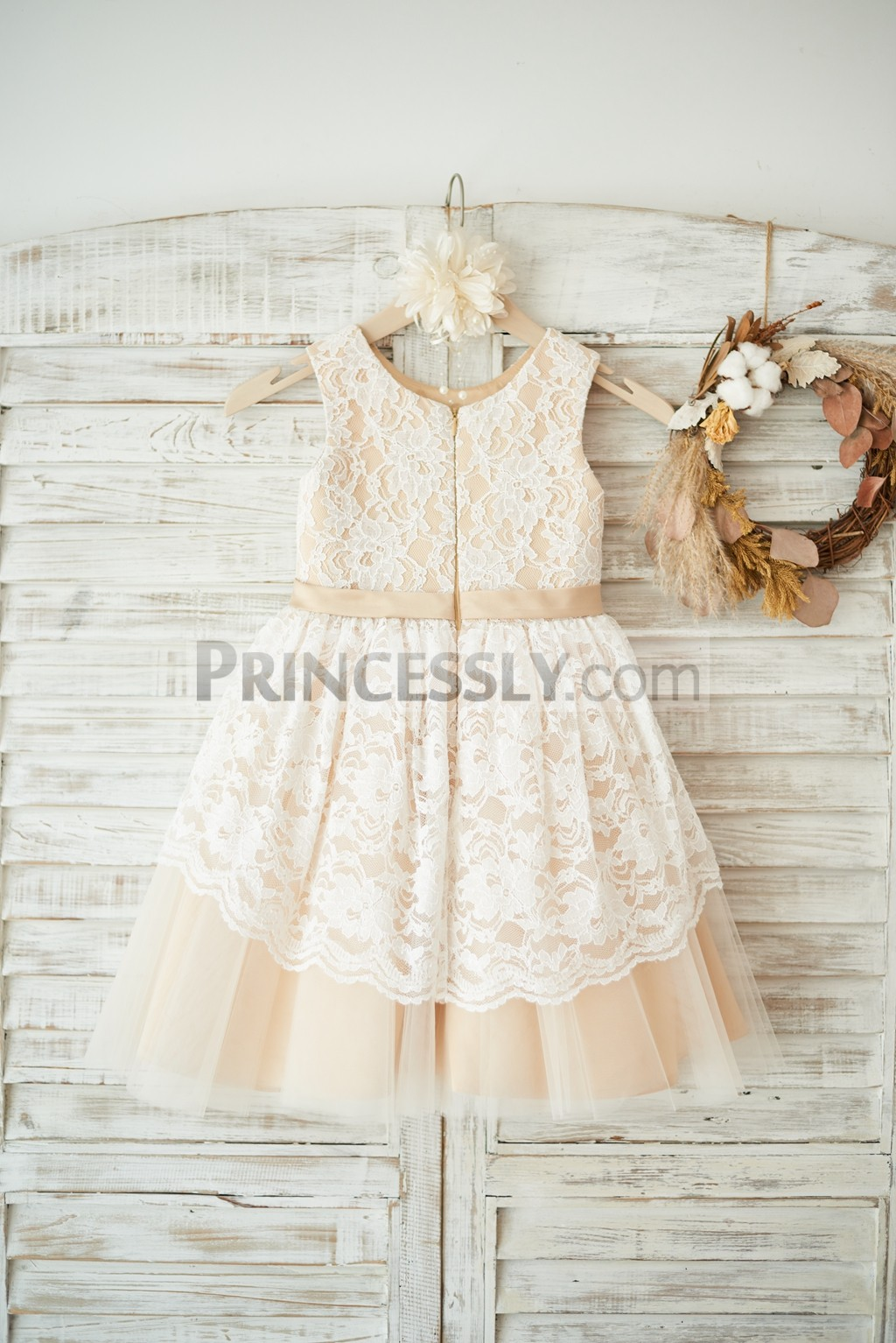 Lace tulle overlaid wedding flower girl dress