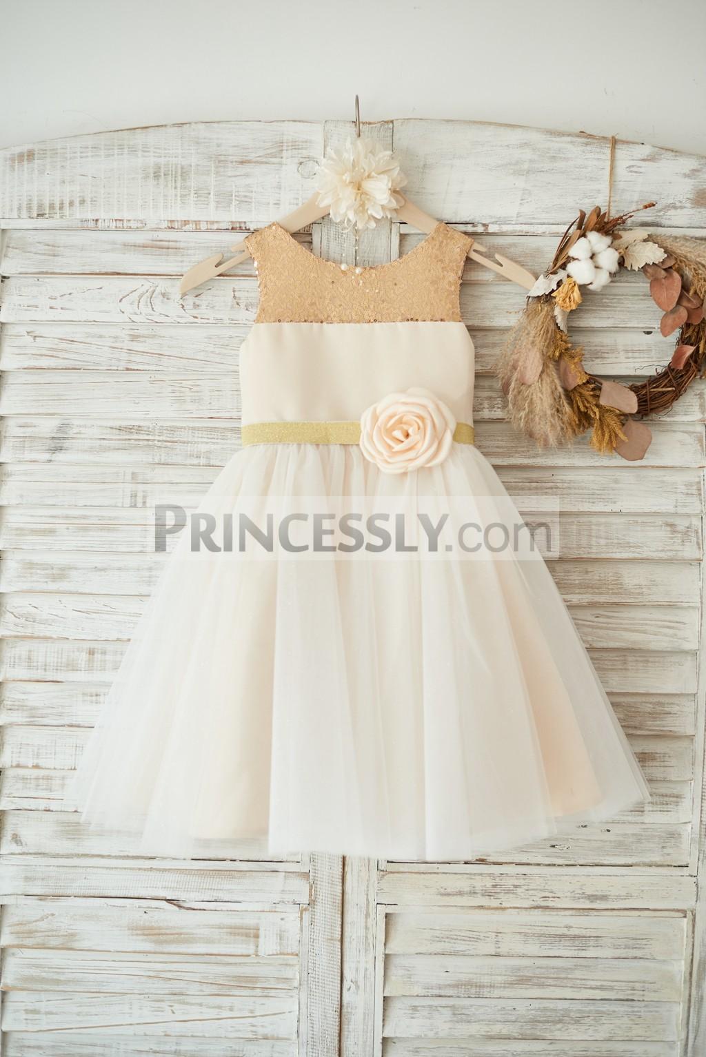 Champagne sequins neckline satin ivory tulle wedding flower girl dress