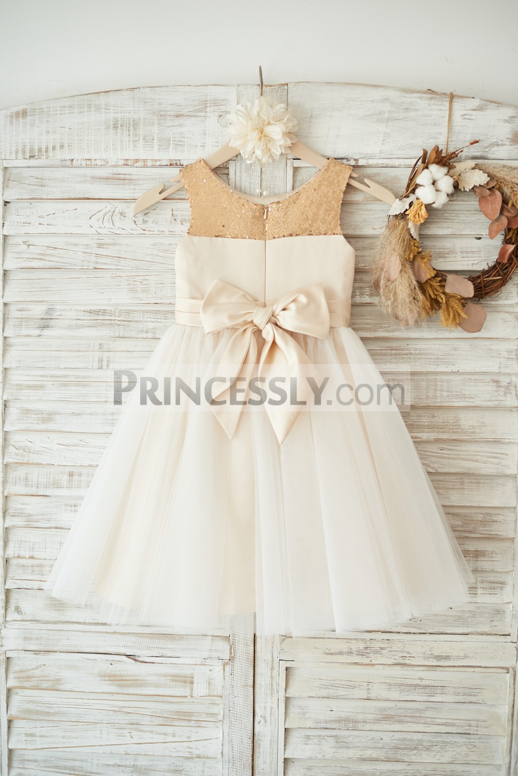 Champagne sequins satin ivory tulle wedding baby girl dress
