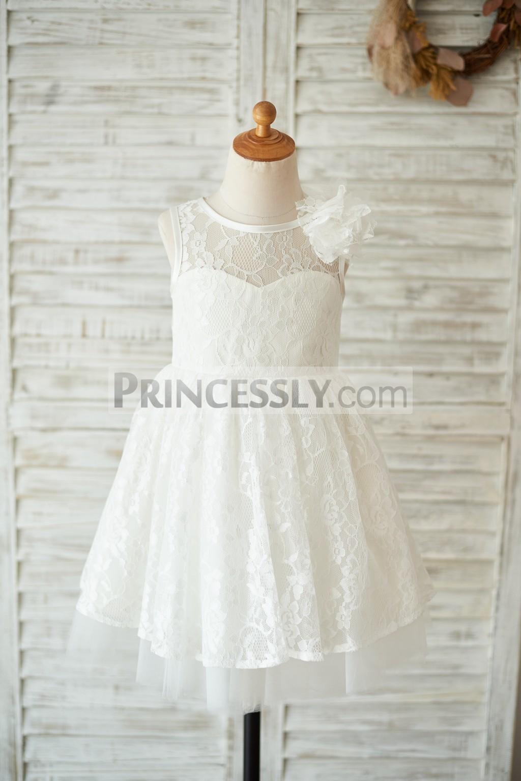 Sheer ivory lace tulle flower girl dress