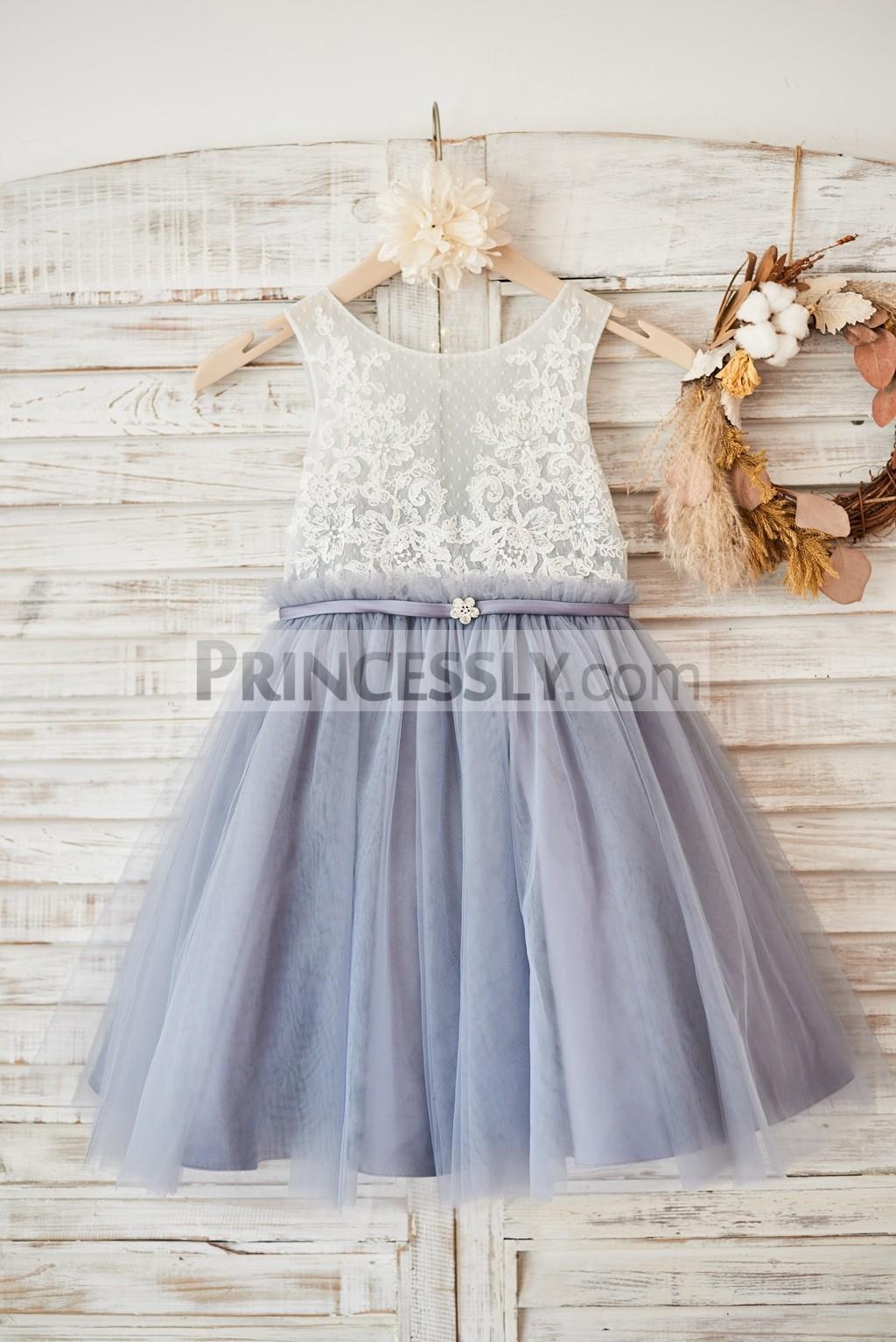 Ivory lace gray tulle wedding flower girl dress