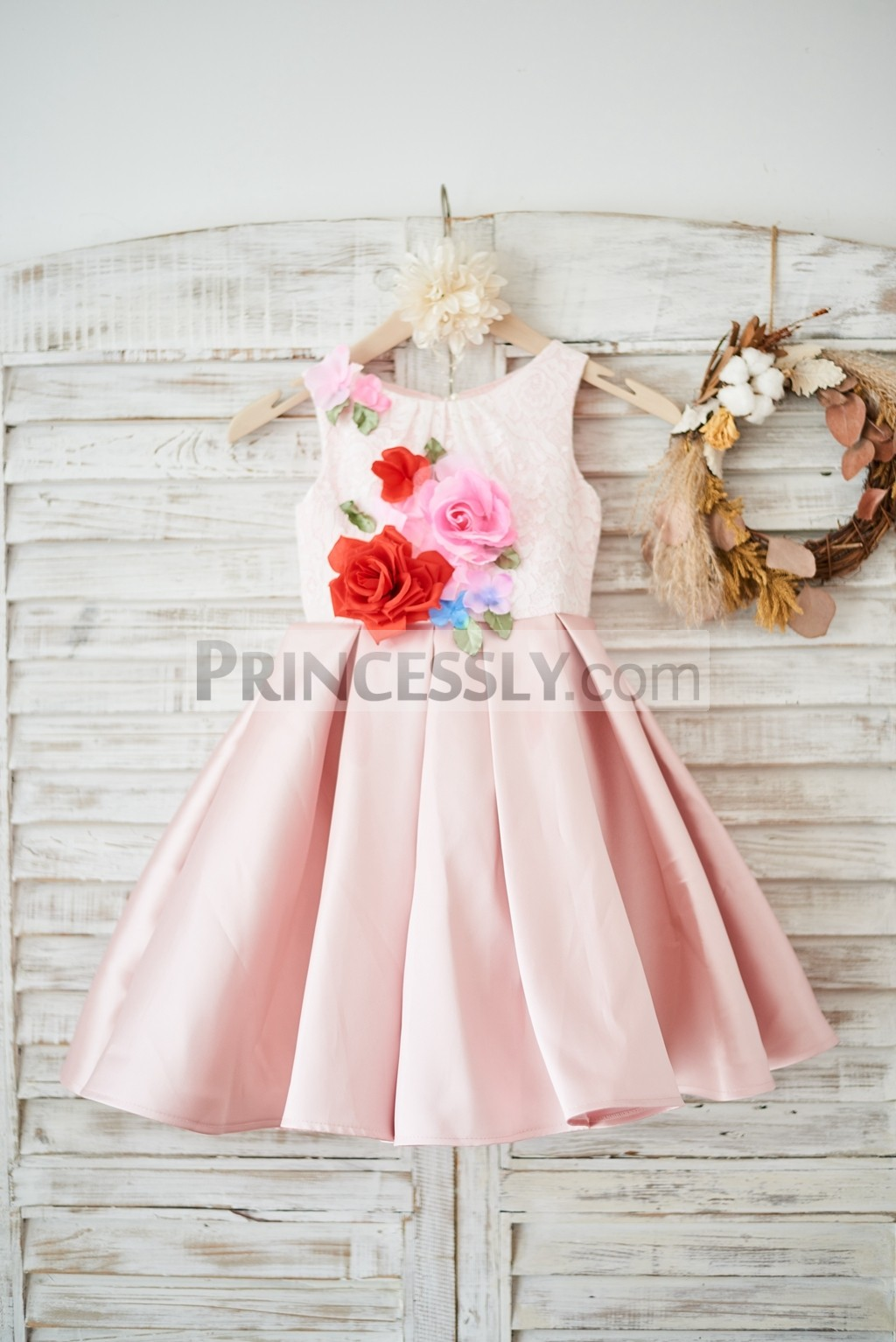 Ivory lace peach pink twill satin wedding flower girl dress