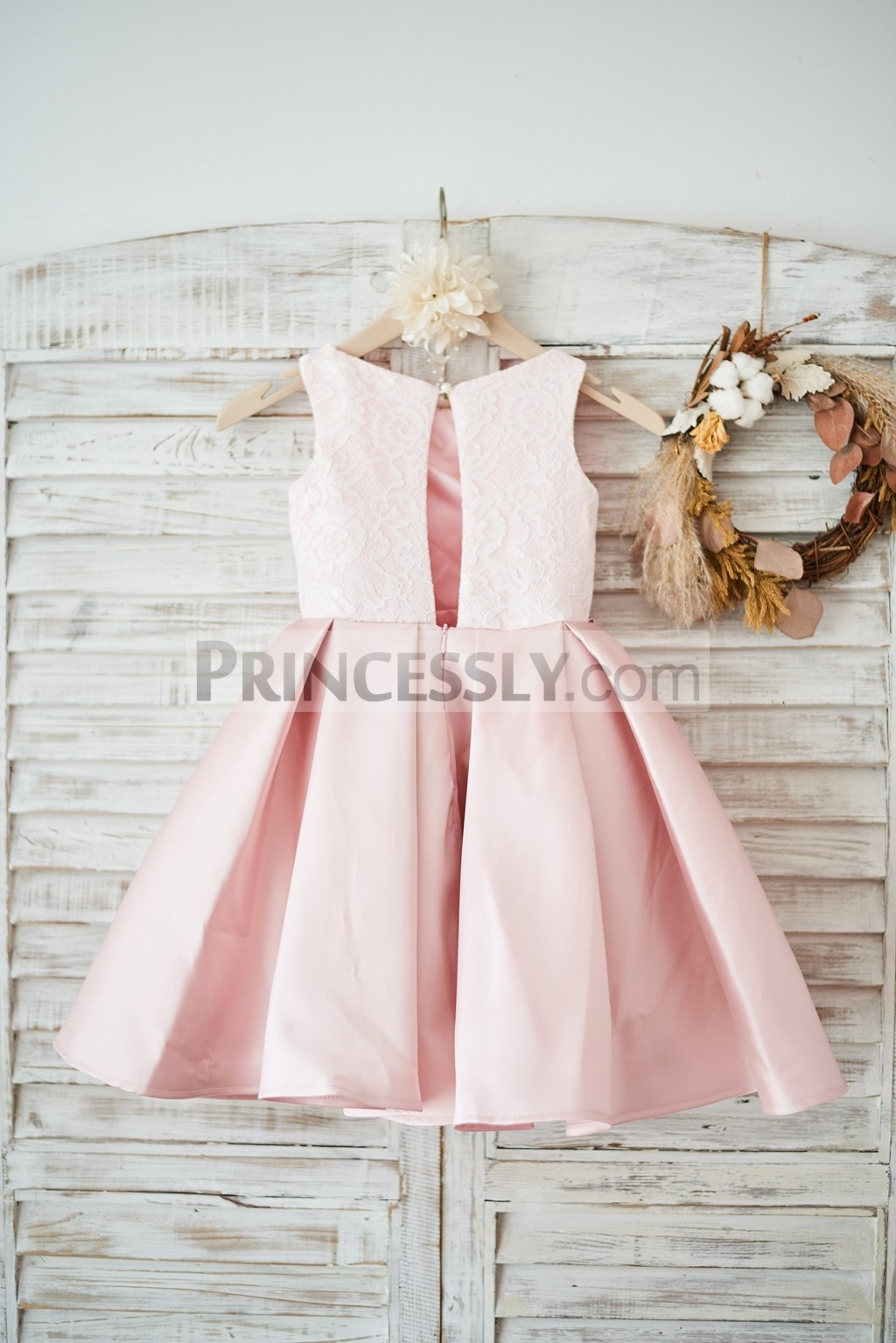 Lace satin peach pink wedding little girl dress