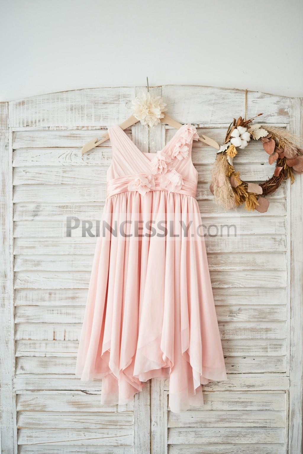 V neck Pleated Blush Pink Tulle Wedding Flower Girl Dress