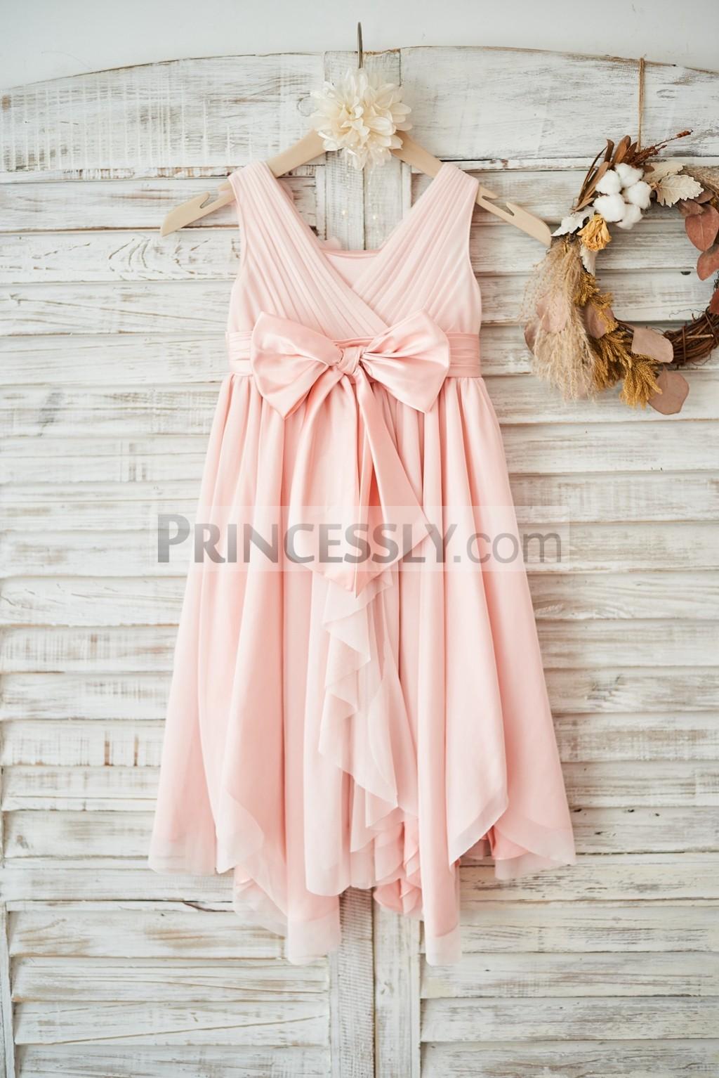 Blush Pink Tulle Ruffles Back Uneven Skirt Hem Wedding Little Girl Dress