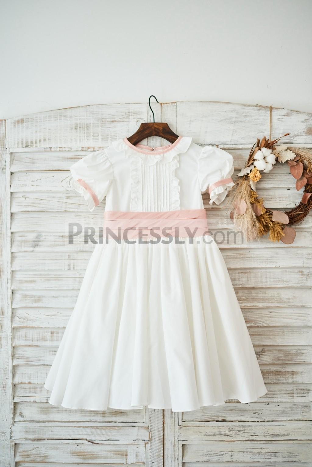 Puffy Short Sleeves Jewel Neck Ivory Cotton Wedding Flower Girl Dress
