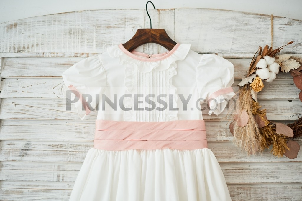 Pleated Pink Belt embellished the bodice with frills on front