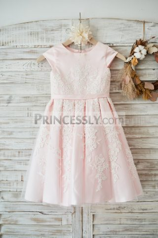 Princessly.com-K1003588-Pink-Satin-Ivory-Tulle-Lace-Cap-Sleeves-Wedding-Flower-Girl-Dress-with-Belt-31