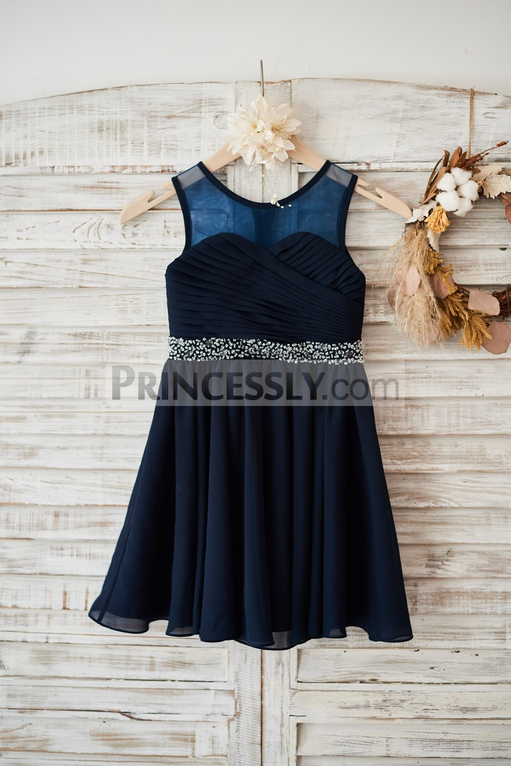 Sheer neck navy blue chiffon wedding flower girl dress