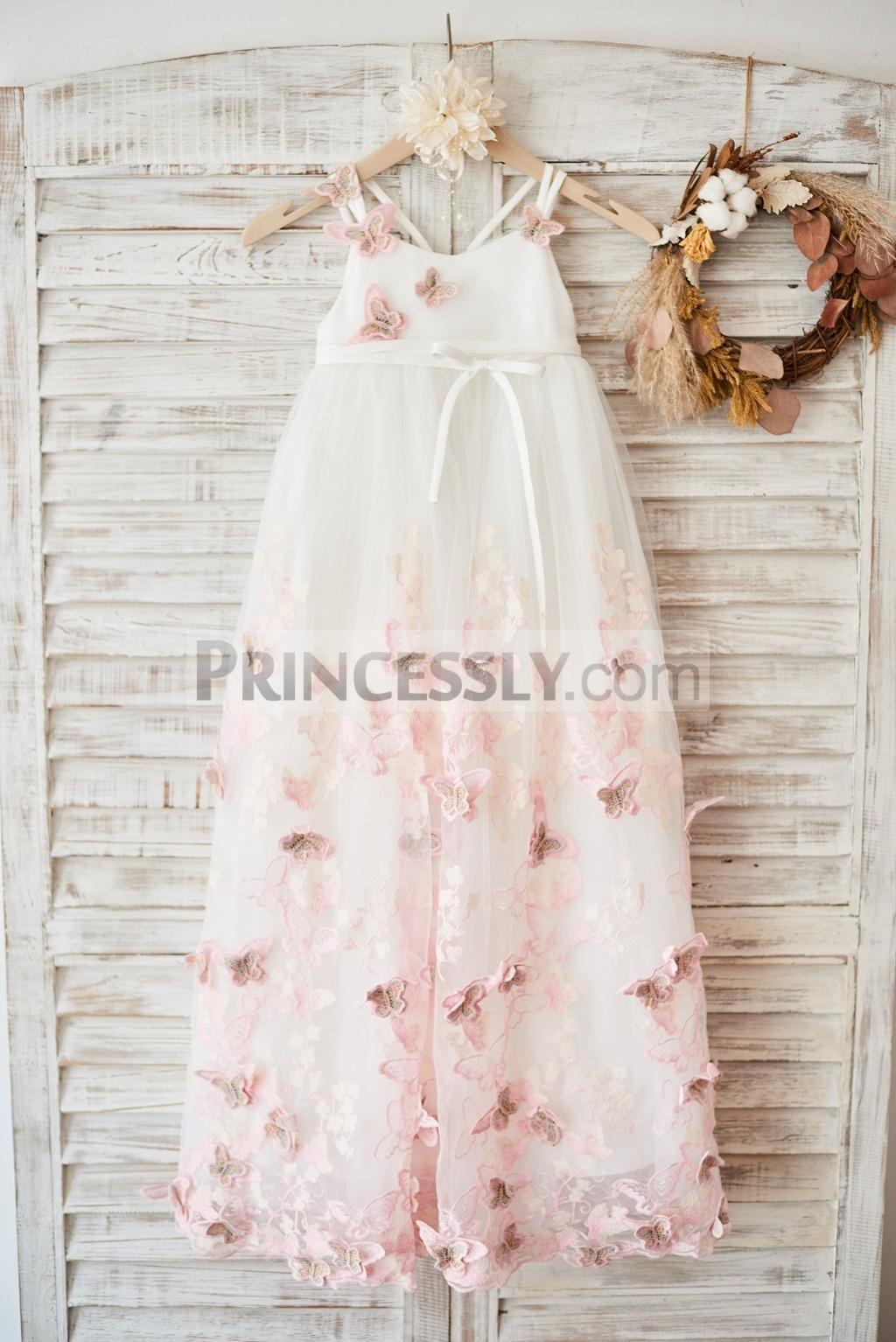 Ivory tulle 3D butterflies wedding baby girl dress