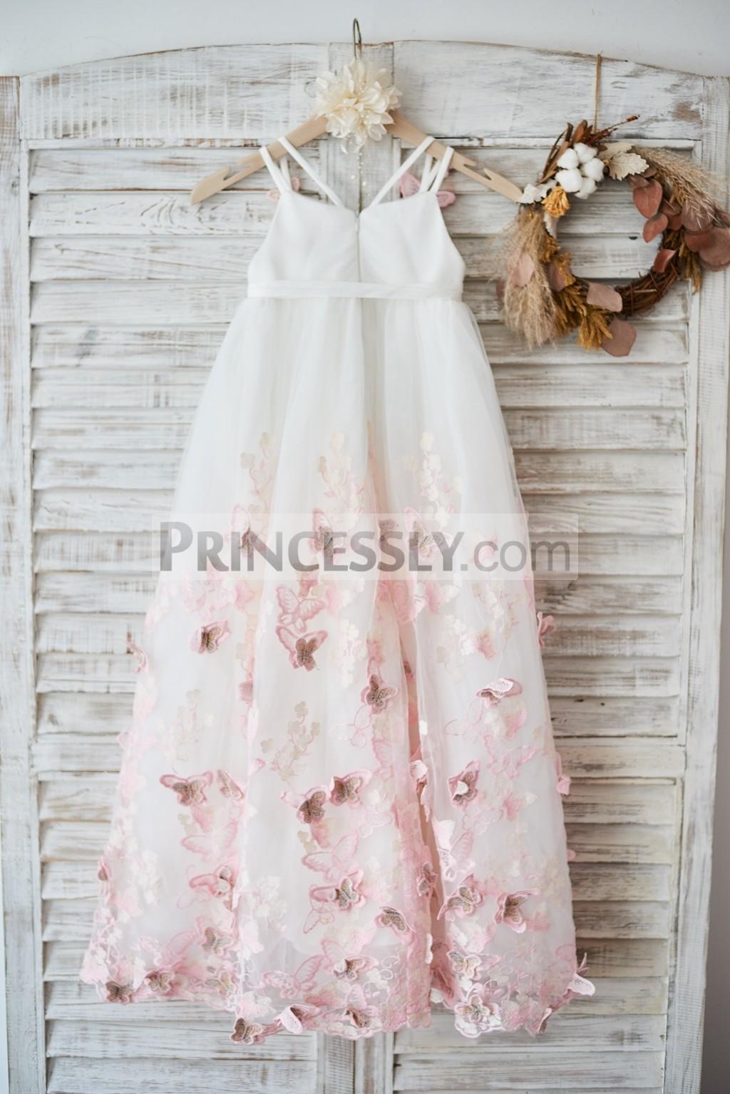 Spaghetti straps V neckline tulle wedding flower girl dress