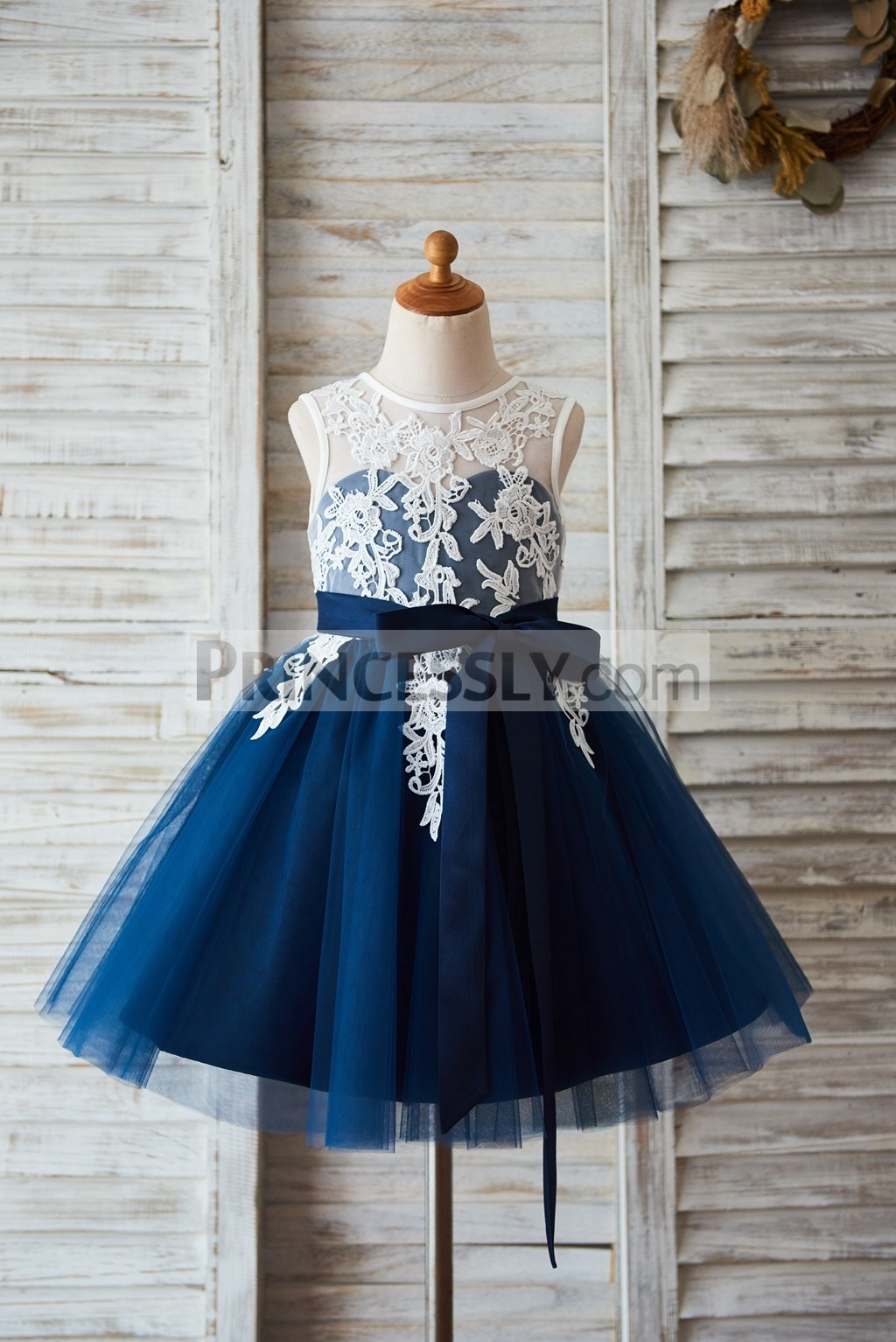 Ivory lace navy blue tulle wedding flower girl dress