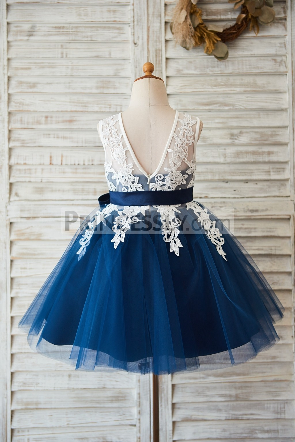 Deep V back lace navy blue tulle wedding flower girl dress