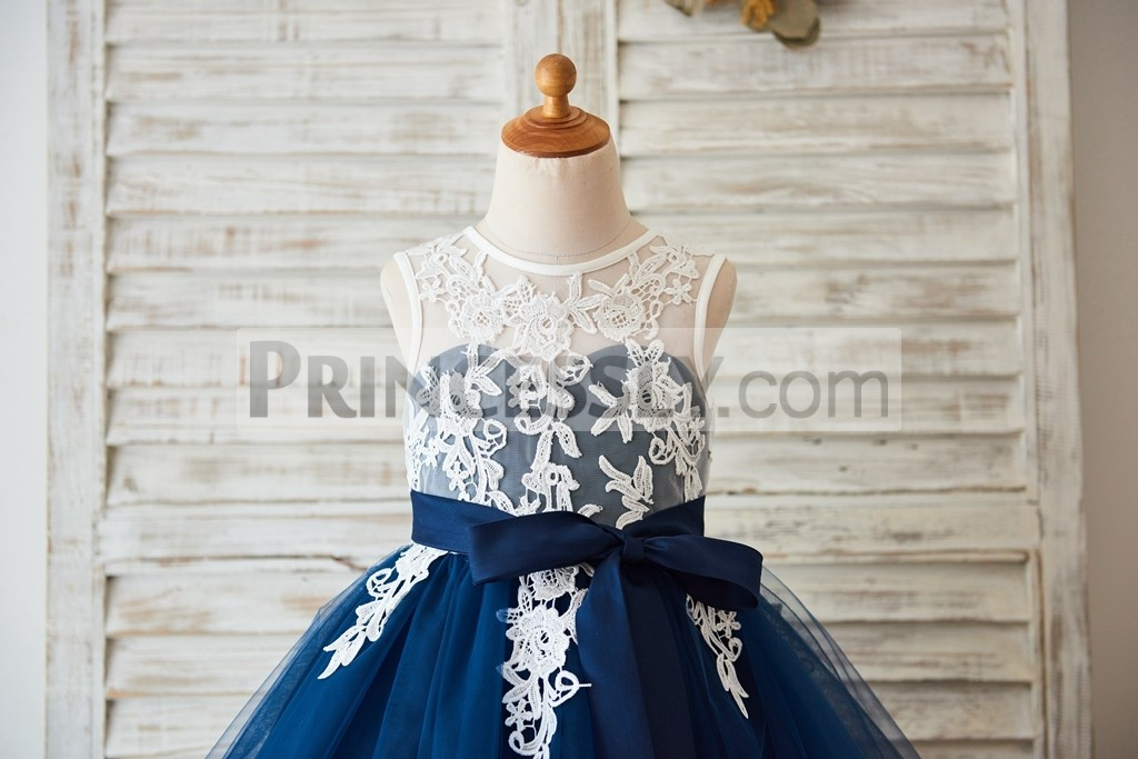 Ivory lace overlay bodice with inside sweetheart & navy blue sash