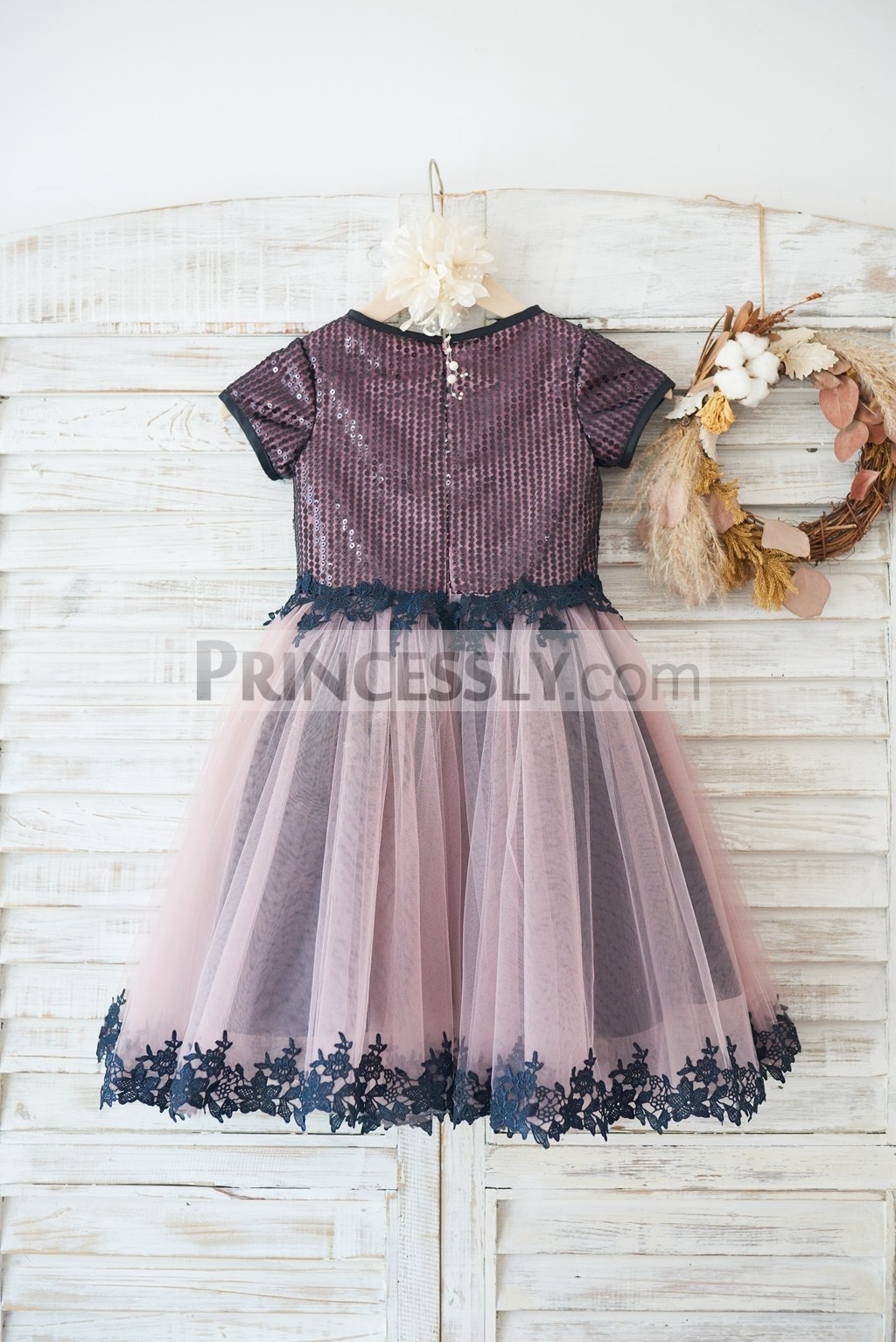 Mauve tulle skirt with black lace trim wedding little girl dress
