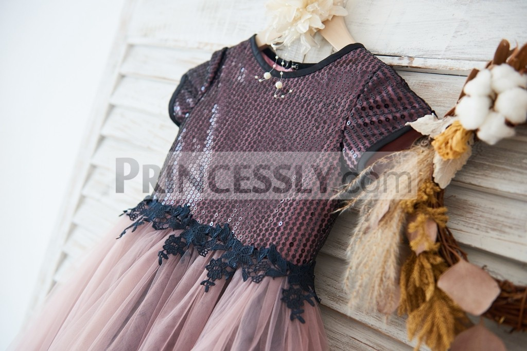 Short sleeves black sequins mauve satin lining bodice with black lace waist