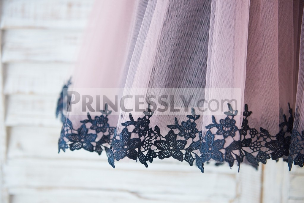Mauve tulle skirt with black lace trim