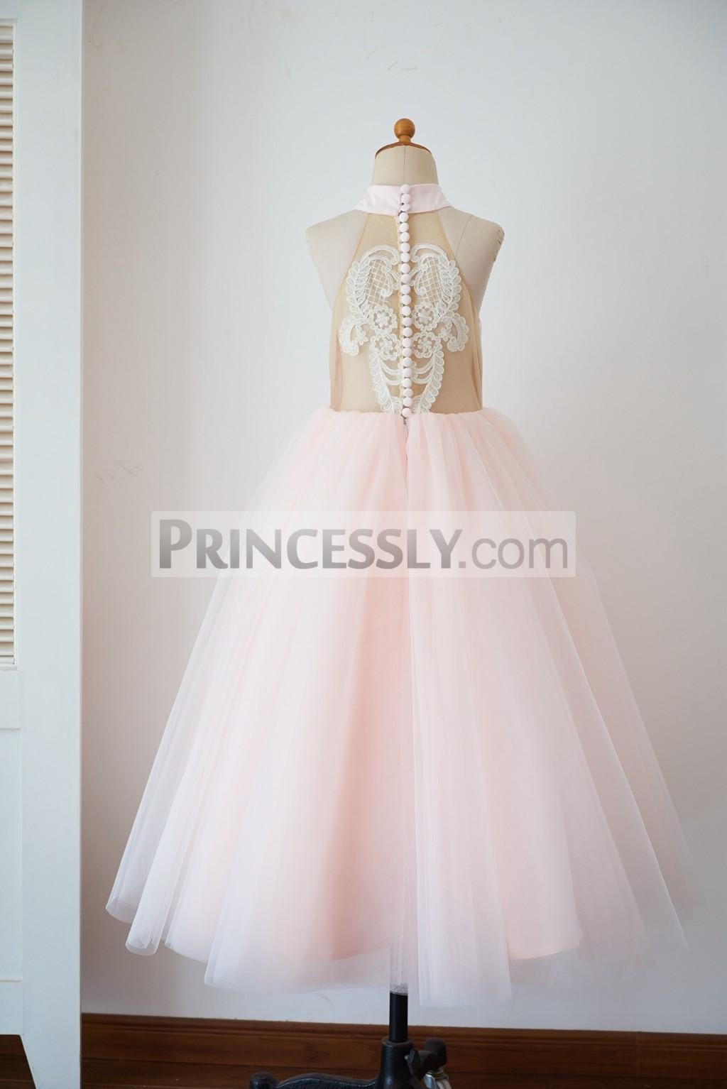 Sheer tulle halter neck pink tulle ankle length wedding flower girl dress