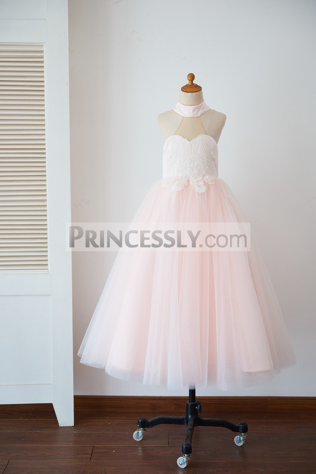 High neck inside sweetheart lining pink tulle flower girl gown